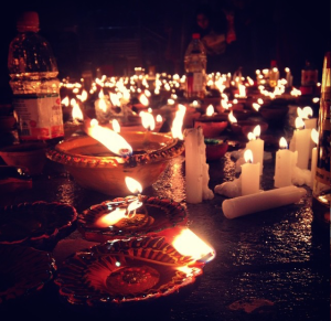 Diyas lit outside the Sikh Temple.