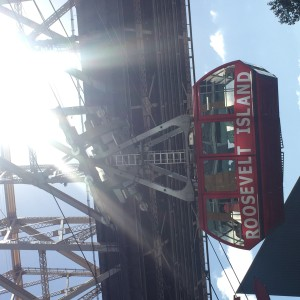 A view of the Roosevelt Island Tramway coming back to Roosevelt Island on a Sunday afternoon.