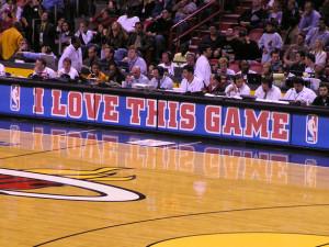"""I love this game"" is displayed at American Airlines Arena. Photo Credit: Daniel U"