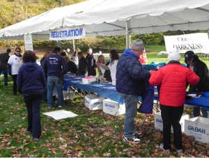 The registration area where The Out of the Darkness Walk begins