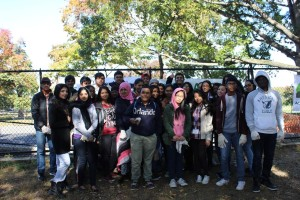 Edison students that participated in the Cunningham Park Cleanup Photo Credit: Stacy Baker