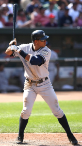 Person holding a baseball bat in the proper batting stance