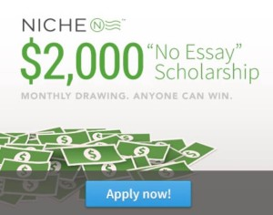 An advertisement showing us a quick and easy scholarship to sign up for at home. Photo Credits: Niche.com