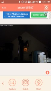 AtHome security camera being used in a dark room.