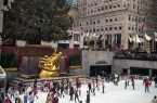 The crowd of skaters at the Rink at Rockefeller Center.