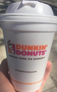 The new Dunkin Donuts cup that is now made out of polypropylene.
