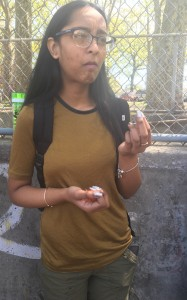 A contestant, Varshnie Sookhwa, facial reaction after round 1 in the bean boozled challenge game.