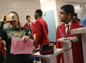 Zafar Seenauth demonstrating his Virtual Reality Glasses during a SkillsUSA event.