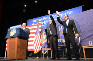 New York Governor Andrew Cuomo and Vermont Senator Bernie Sanders announce the Excelsior Scholarship in January 2017. Photo Credit: Kevin P. Coughlin, Office of the Governor