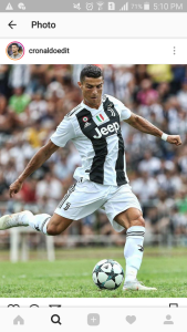 Cristiano Ronaldo playing in the Champions League for his new team, Juventus. Photo credit: cronaldoedit, Instagram