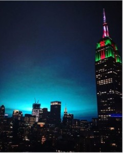 Caption: NYC's skies light up with an eerie blue flash, it was visible all the way from Manhattan. Credit: Twowivesclub_. -Instagram
